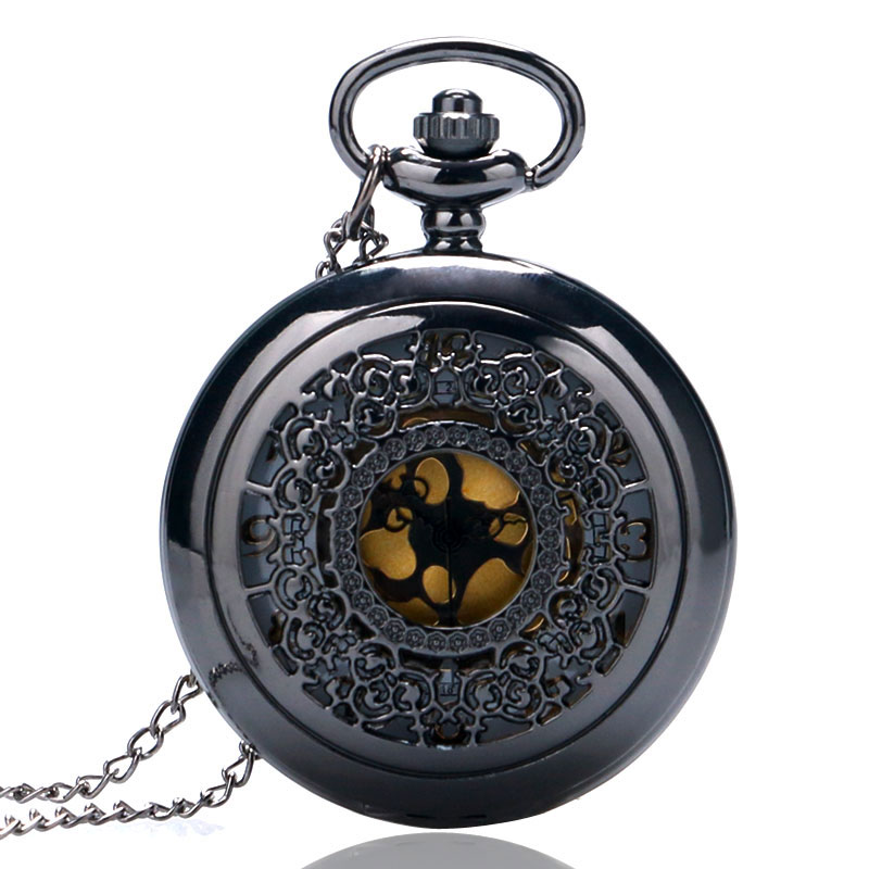 Vintage Jewelry Steampunk Antique Necklace Black Pocket Watch Classic Pattern Hollow-out Pocketwatch tribal pattern back hollow out strappy romper