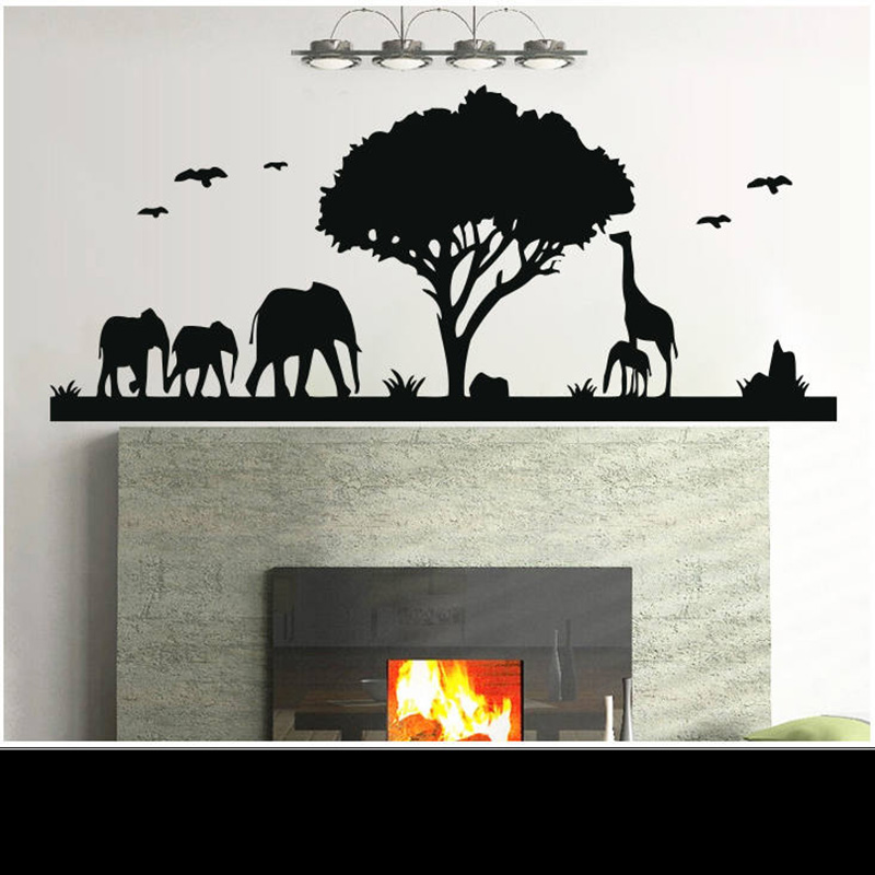 >African animal <font><b>prairie</b></font> Wall Decal Removeable vinyl Animals and plants <font><b>Home</b></font> Decor For bedroom living room decoration decals G999