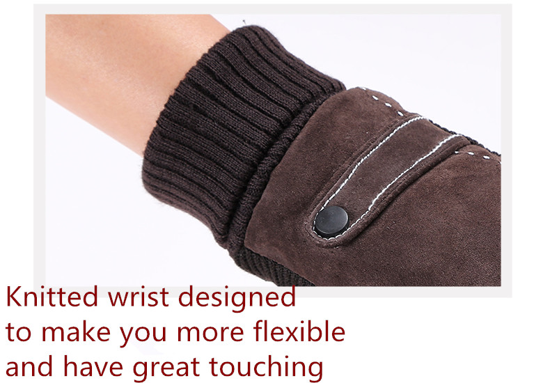 Купить с кэшбэком Free shipping 2 pairs buckle and threaded style genuine leather driving gloves warm for winter and comfortable with full lining