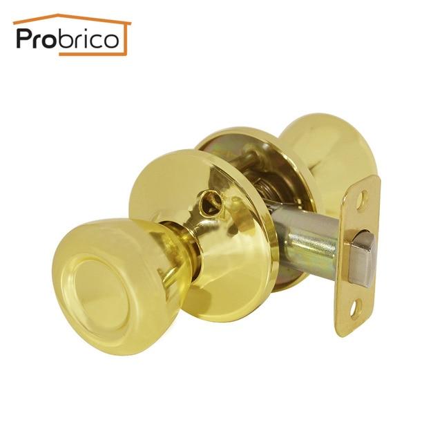 Probrico Passage Keyless Door Lock Stainless Steel Gold Door Knob Door  Handle For Interior Door DL576PBPS