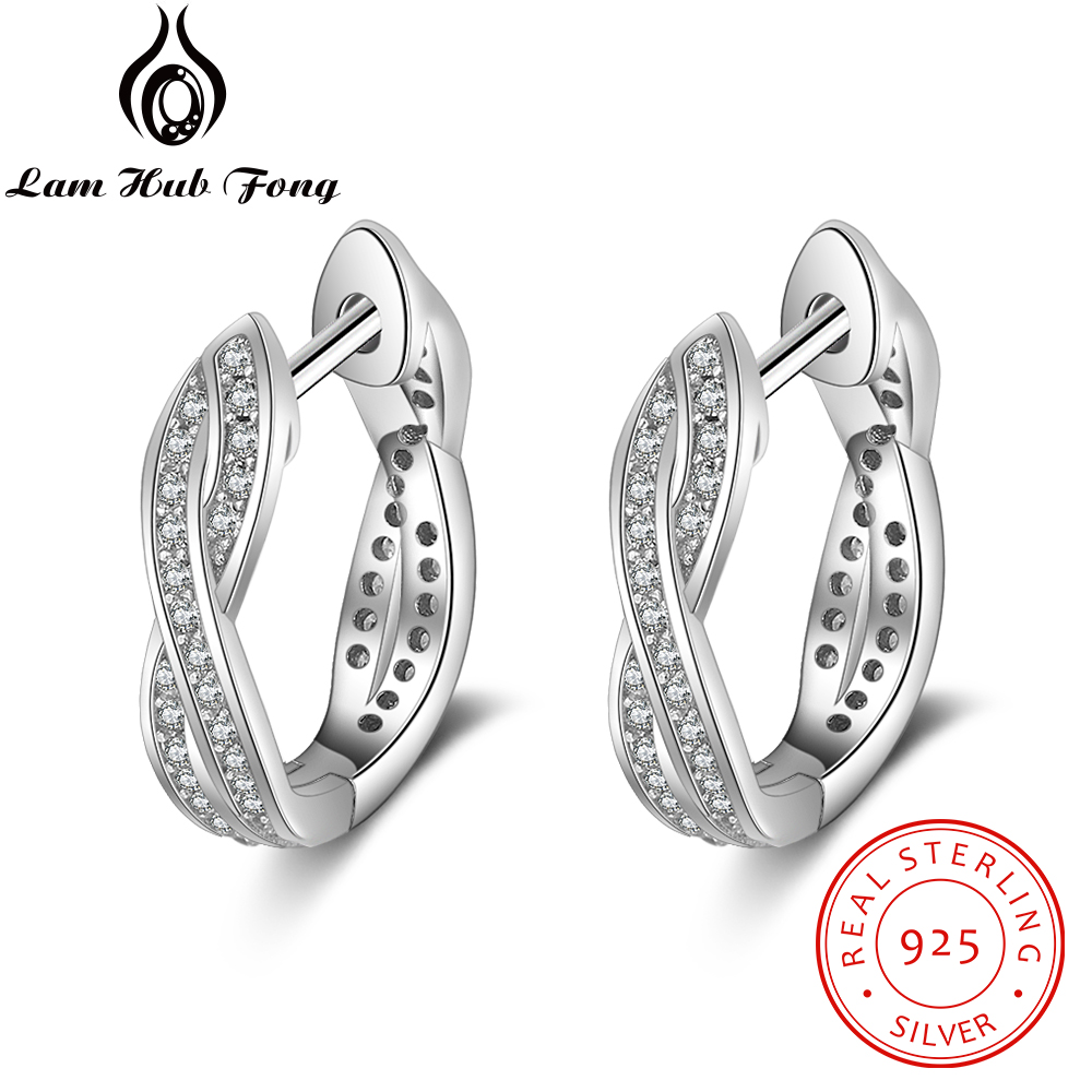 Classic Real Pure 925 Sterling Silver Cubic Zirconia Hoop Earrings Twisted Earrings For Women Silver 925 Jewelry (Lam Hub Fong) aluminum wall mounted square antique brass bath towel rack active bathroom towel holder double towel shelf bathroom accessories