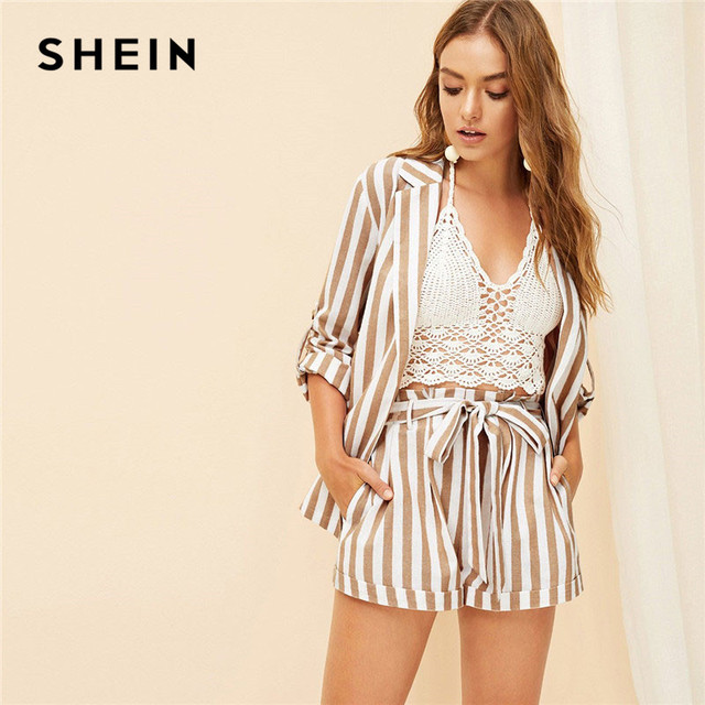 990012ccf5 SHEIN Khaki Notched Collar Vertical-Stripe Roll Up Sleeve Blazer or Belted  Shorts Set Spring Summer Women Casual Two Piece Set