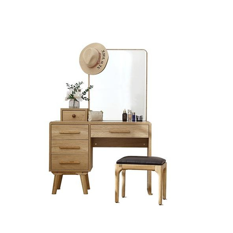 Makeup Box Toaletka Do Sypialni Tocadore Para El Dormitorio Retro Wooden Penteadeira Bedroom Furniture Korean Dressing Table wooden dressing table makeup desk with stool oval rotation mirror 5 drawers white bedroom furniture dropshipping