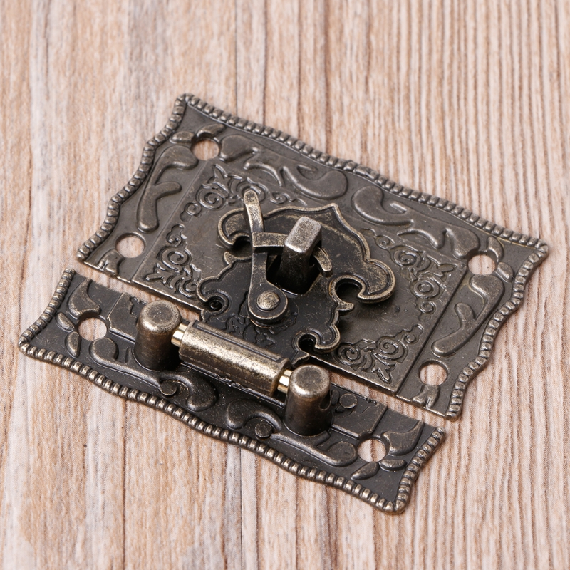 55mmx47mm Vintage Style Latch Wooden Box Hasp Pad Chest Lock Bronze Tone Antique WF4458037