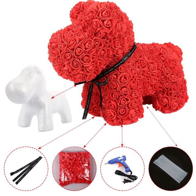 1PC 20cm/35cm  Rose Bear rose dog  Mold DIY Artificial Rose Flower Bear Plastic Bear Roses Luck Dog Mold Model Accessories Bag