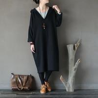 NEW 2018 Women Autumn Winter Dress Solid Hooded Dress Plus Size Loose Knee Length Cotton Dress