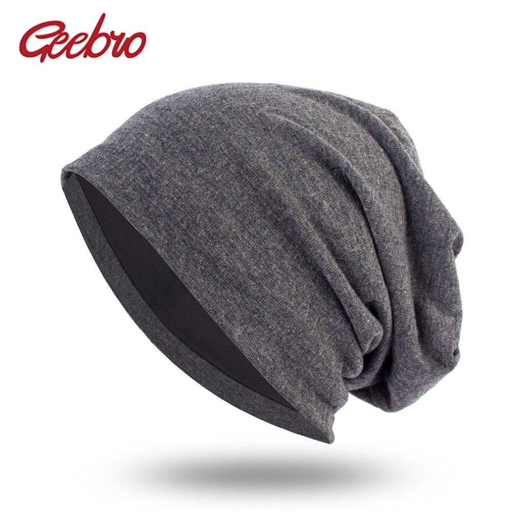 Geebro Spring Women's Bonnet Beanies Men's Cotton Solid Color Hats For Ladies Soft Comfortable Skullies Beanie Cap DQ412B