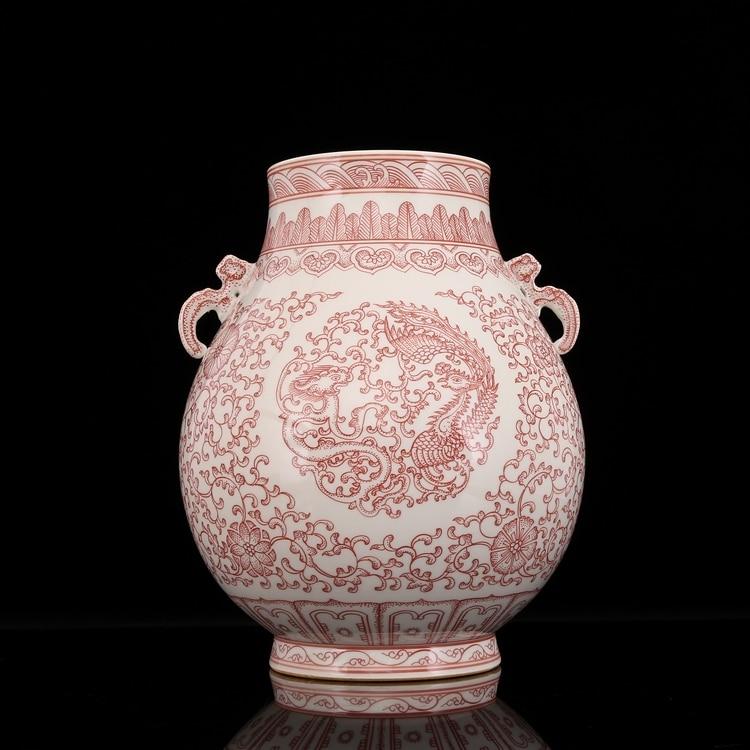 Ceramics Double Ears Ming Dynasty Handpainting Handmade Antique Vase With Underglaze Red Lotus Elegant and Beautiful Treasure vase