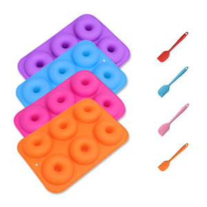 2 шт./компл., силиконовая форма для выпечки пончиков, антипригарная форма, кухонный скребок для теста, силиконовый инструмент для смешивания ...