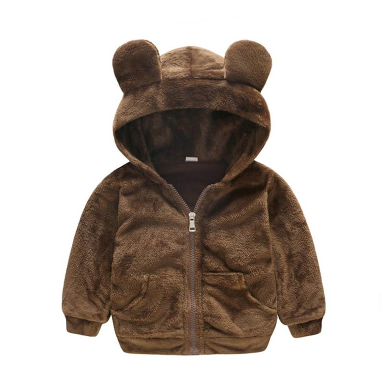Baby Coats and Jackets Hooded with Ears Zipper Faux Fur Coat Tops Warm Outwear New Winter 2018 for Baby Boy Girl Clothes 18Aug16