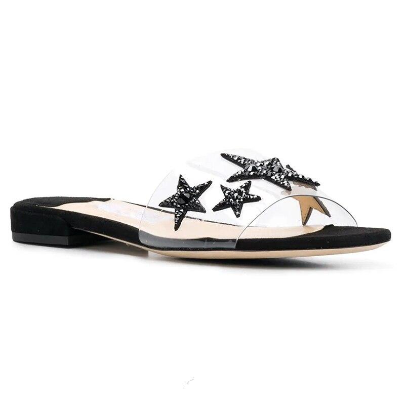 Femenino Show Nueva Del Estrella Sandalias Playa De Marca Flops Zapatillas Abierto Pie Dedo As Sapato Flip Cristal Mujer Pvc Diapositivas Planas Acogedor qHBx1W