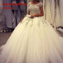 Hot Sale Ball Gown Tulle Wedding Dresses 2017 Turkey Royal Train Puffy Appliqued Bridal Gowns Custom made Robe de Mariage