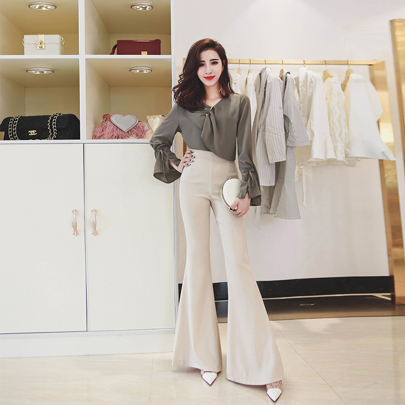 Women flared trousers Spring/Autumn High waist Casual flared trousers Bell bottom   pants   pantalon femme Waist   Wide     Leg     Pants