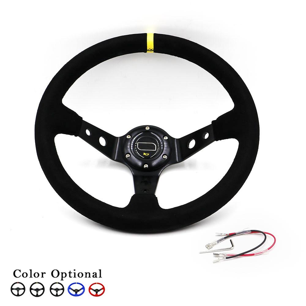 Prix pour 14 pouce 350mm voiture-styling volant avec couverture en cuir suédé/voiture de sport volant racing pour bmw/audi/toyota/honda