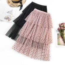 Simple Casual polka dot women skirt High waist A line Korean tassel pink summer skirt Sexy ruffle beach female skirts 2019 self belt ruffle waist high split skirt
