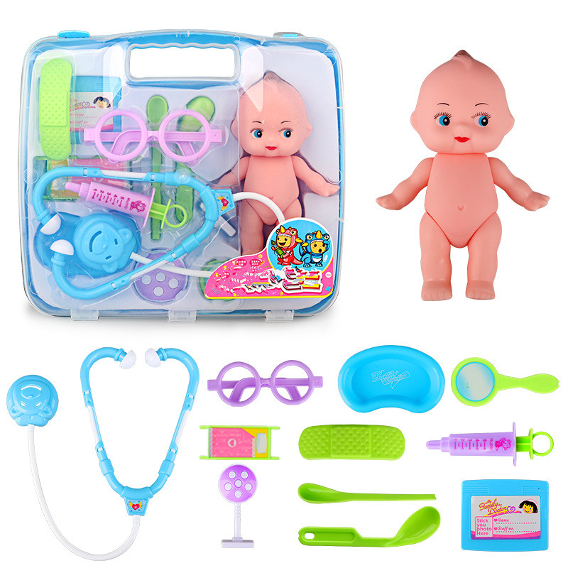New 12pcs toys Doctor Play sets Simulation Medicine Box Doctor Toys Stethoscope Injections Light Role Pretend Children gifts