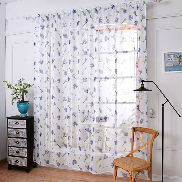 2018 Soft Fabric Sheer Tulle Curtains For Bedroom Violet Lavender Window Living Room Kitchen Tulles 1pc