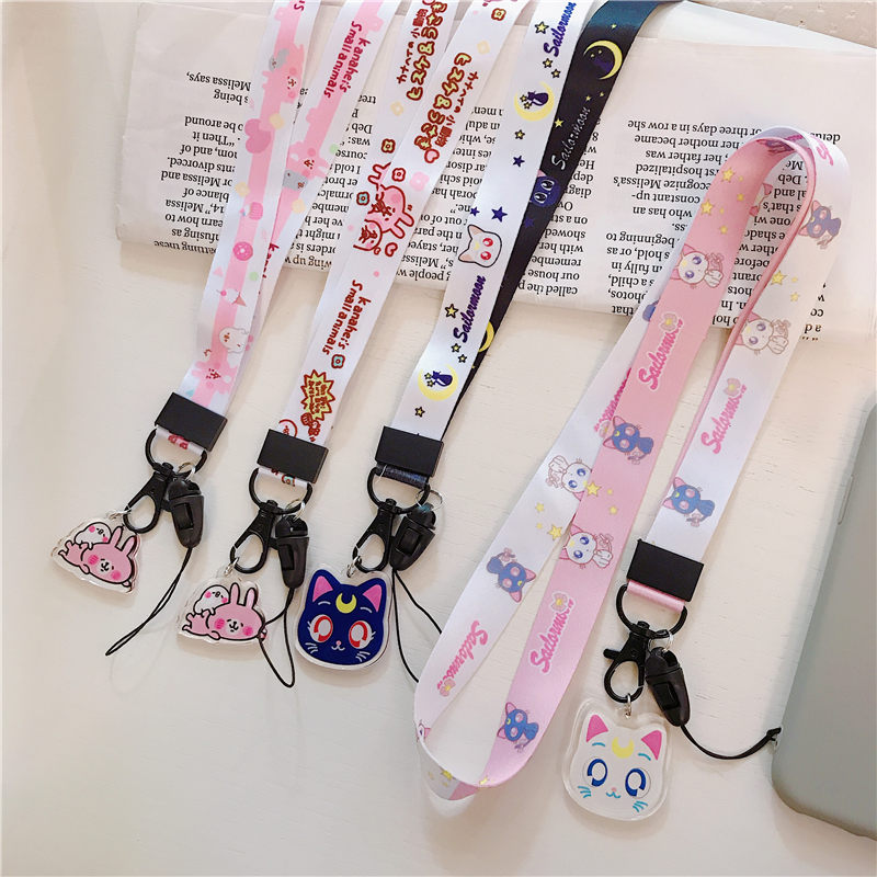 Mobile Phone Strap Lanyard Neck Strap For Keys ID Card USB Rope Cartoon Cute Diy Accessories For Airpods Case Moon Cat Sailor