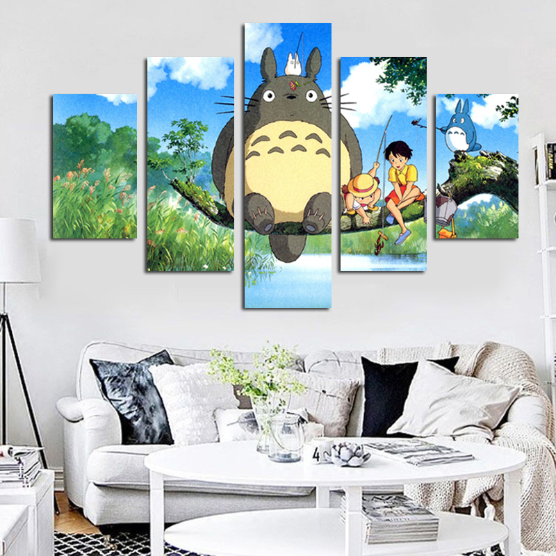 5 Panel Moderno Miyazaki Hayao Totoro Art HD Impresión Modular Pintura de Pared Poster Picture For Kids Room Cartoon Pared Cuadros Decoración
