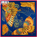 Famous Brand Luxury Shawl Women Large Square Silk Scarf Twill  Natural Silk Scarf Hijab Vintage Printed Butterfly Bandana Scarf