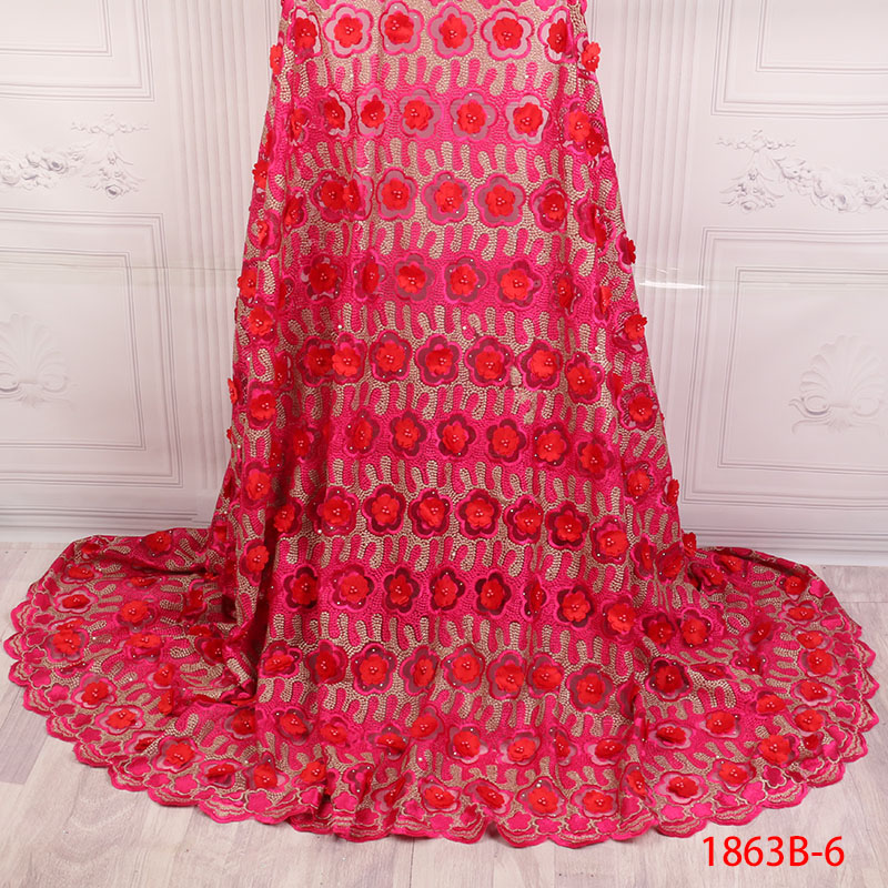 Red African Lace Fabric 2019 Latest 3D Flowers Lace Fringe Nigerian Embroidered Tulle Fabric For High Quality Dress APW1863B-2Red African Lace Fabric 2019 Latest 3D Flowers Lace Fringe Nigerian Embroidered Tulle Fabric For High Quality Dress APW1863B-2