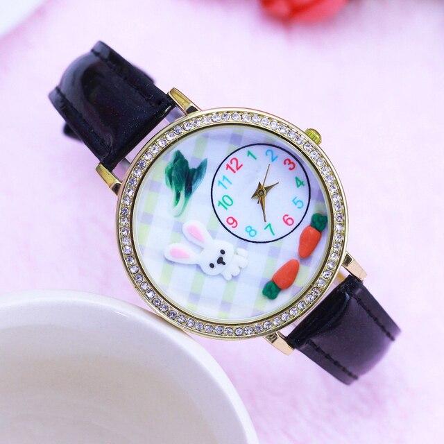 2018 women ladies girls luxury diamond 3D rabbit cartoon quartz wristwatch leather fashion children waterproof electronic cloc