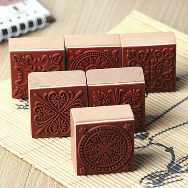 88c2a9ce45 US $5.92 15% OFF|6 Patterns Vintage Square Floral Flower Wooden Rubber  Stamp for scrapbooking card making Decorative DIY Craft Assorted  6pcs/set-in ...