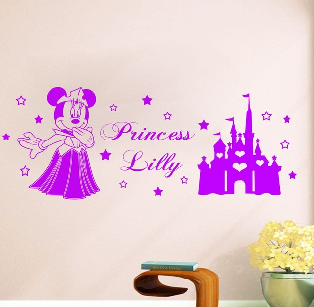 Custom S Name Cartoon Princess Vinyl Wall Art Sticker Minnie Mouse Personalized Decal Kids Nursery