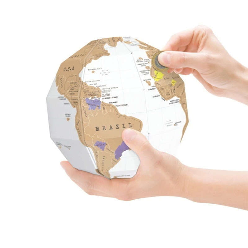 DIY Scratch  Map 3D Stereo Assembly Globe World Map Travel Kid Child Toy Gift Kawaii School Office Supply