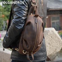 FOLGANDROS bolsos de pecho de cuero de Caballo Loco Vintage para hombres bolso de pecho de cuero genuino cremallera bolsillo Moto estilo de motorista bolsa de mensajero