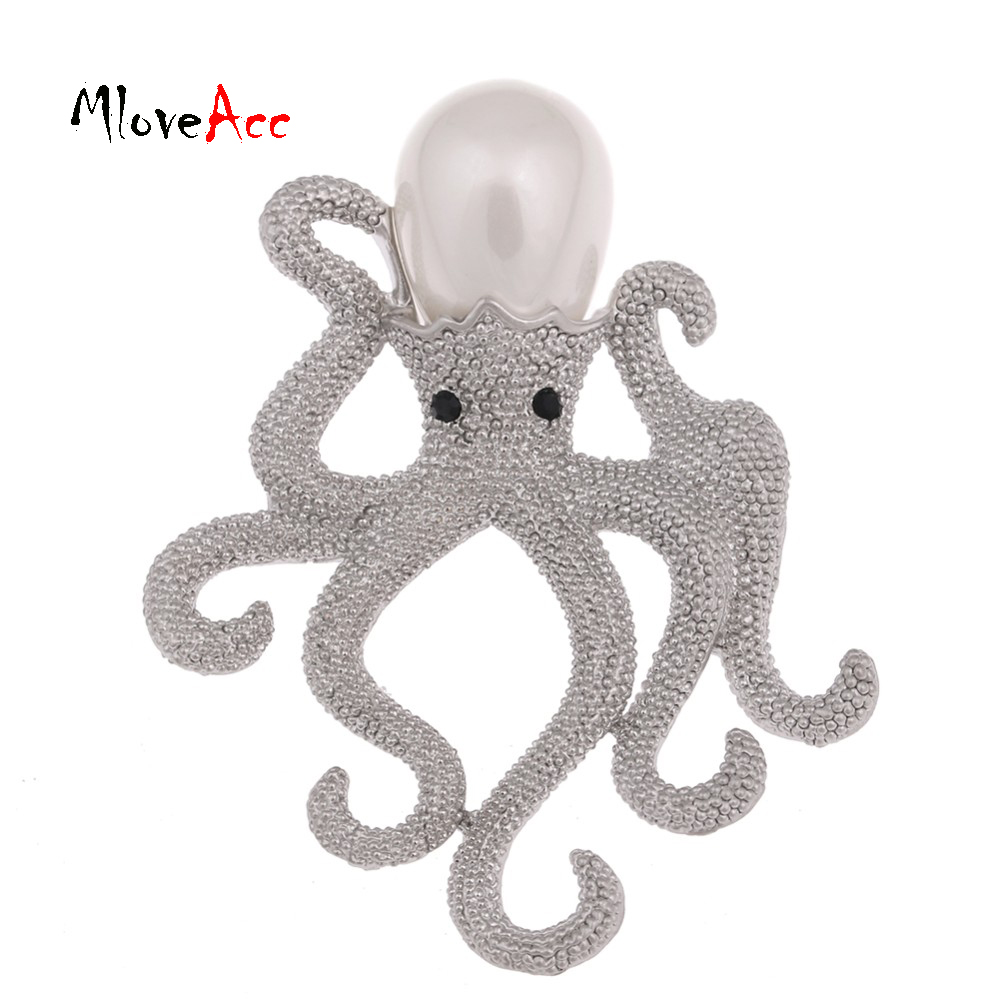 ᗐMloveAcc Unique Octopus Brooch Ladies Retro Style Simulated Pearl ...