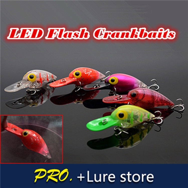 Free shipping 1pc hard LED crankbait,floating crankbait for fishing tackle , artificial flash crankbait, fishing crank lure bait fishing lure blank crankbait unpainted hard bait 4cm 4 2g fishing tackle upc703p10