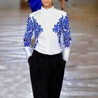 De HAUTE QUALITÉ Mode 2017 Designer Piste Shirt Femmes Manches Longues BARROCO Bleu Blanc Broderie Blouse Chemise Plus La taille S-XXXL