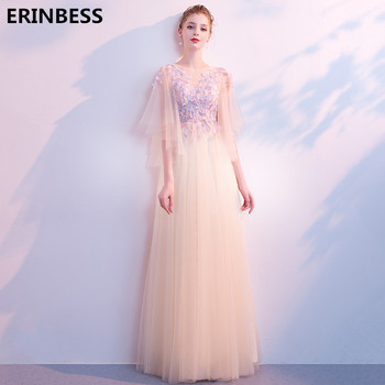 2019 Fashion Evening Dresses Long Dress Sexy Scoop Neck Long Floor Length A-line Three Quarter Evening Dress Formal Party Gowns