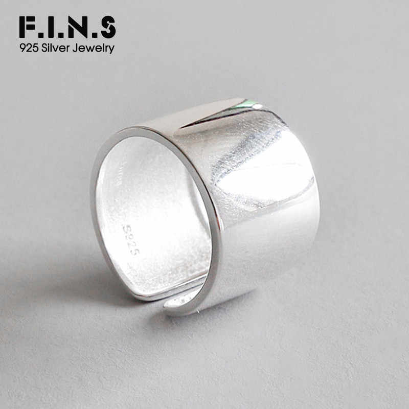 F.I.N.S S925 Sterling Silver Rings for Ladies Minimalism Glossy Open Ring Wide Simple Finger Ring Silver 925 Women's Decoration