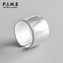 F.I.N.S S925 Sterling Silver Rings for Ladies Minimalism Glossy Open Ring Wide Simple Finger 925 Womens Decoration