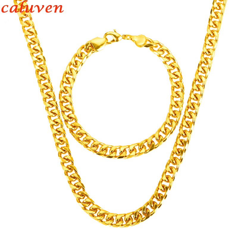 Dubai Gold Color Necklace Set With Party Jewelry Wholesale Cuban Chain Necklace Bracelet Men Jewelry Set