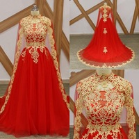 Elegant Red High Neck Arabic Long Prom Dresses With Cape Middle East Appliques Beaded Formal Prom Gown Robe De Bal Evening Dress