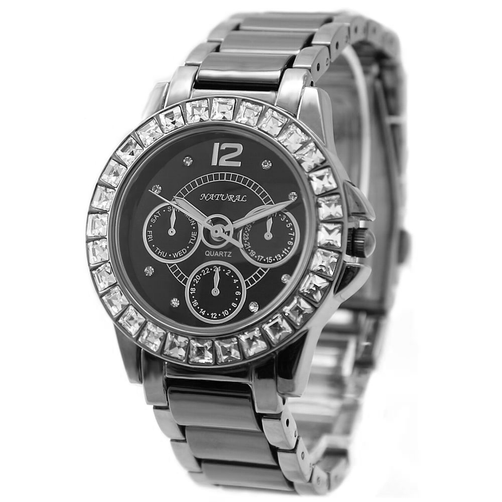 FW830O Gunmetal Band Water Resist Black Dial Ladies Women Ceramic Bracelet Watch