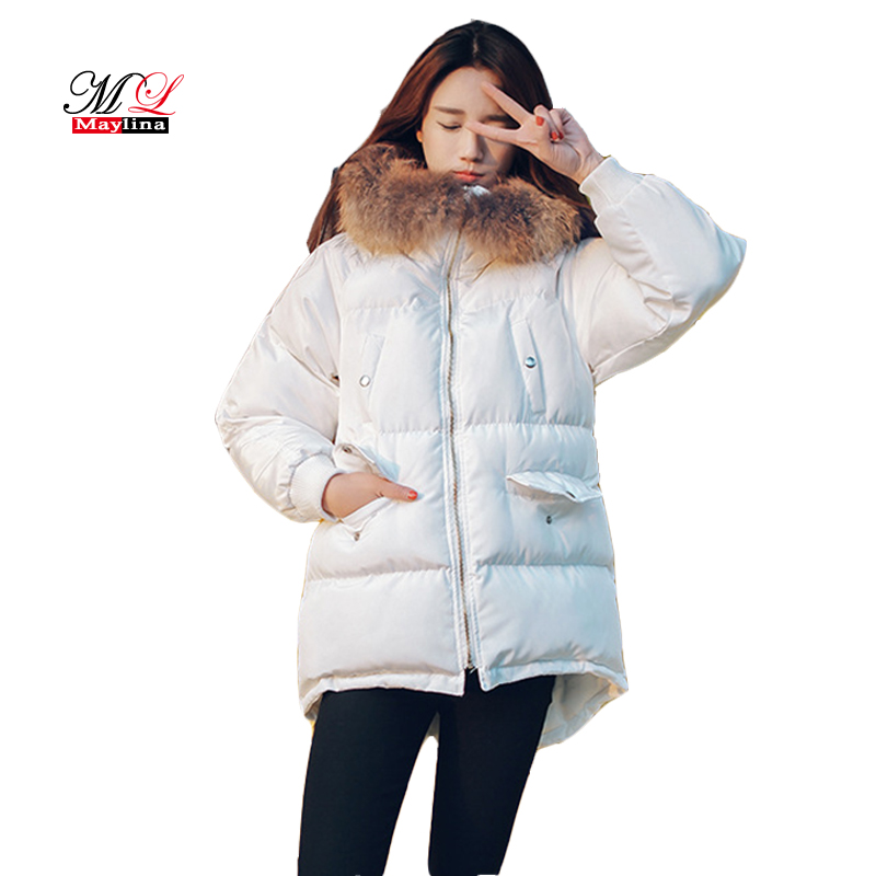 Maylina Winter Women Duck Down Jackets New Solid Color Mid long Fur Collar High Quality Overcoat