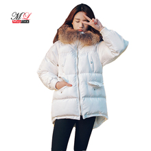 Maylina Winter Women Duck Down Jackets New Solid Color Mid-long Fur Collar High Quality Overcoat Thicken Hooded Warm Outerwear