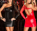 MR16 Women Sexy Night Club PU Leather Babydoll Female Night Club Erotic Lingerie Tulle Decoration Long Sleeves Mini Short Dress