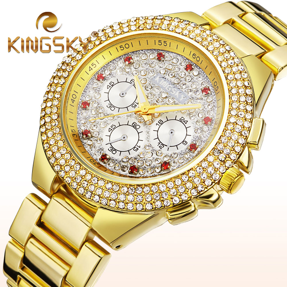 Luxury Brand KINGSKY Diamond Gold Women Fashion Bracelet Dress Wristwatches Round Alloy Strap Lady Casual Watch Clock Relogio new arrival bs brand full diamond luxury bracelet watch women luxury round diamond steel watch lady rhinestone bangle bracelet