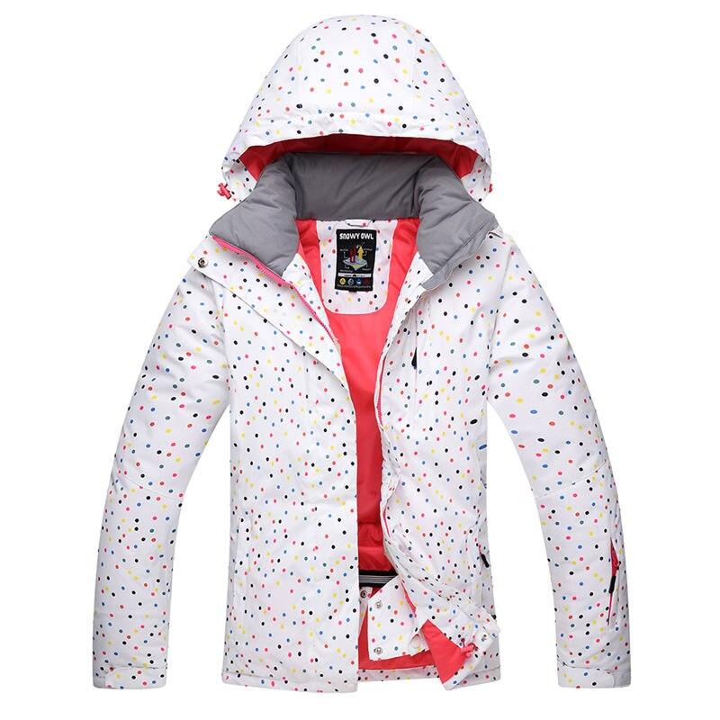 Blanc Dot neige Costume femmes Snowboard vestes hiver imperméable Sport épaissir chaud Costume extérieur ski Costume vêtements neige coût