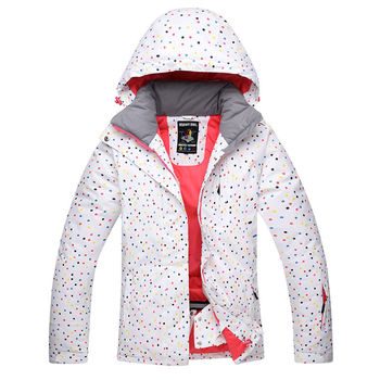 White Dot Snow Suit Women Snowboard Jackets Winter Waterproof Sport Thicken Warm Costume Outdoor Skiing Suit Clothing Snow Cost