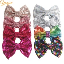 "YANJIE 30pcs/lot 5"" Knot Sequin Hair Bow WITHOUT Hair Clips Girls Solid Glitter"