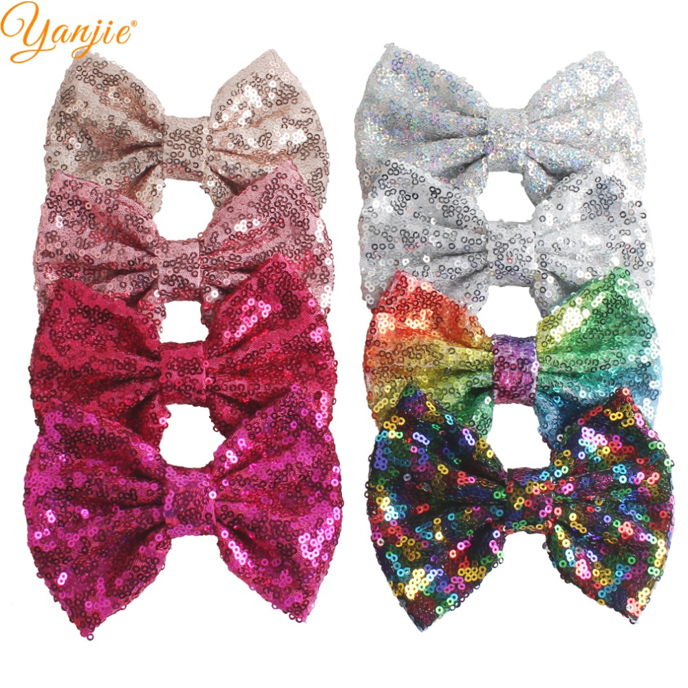 """30pcs/lot 5"""" Knot Sequin Hair Bow WITHOUT Hair Clips  Girls Solid Glitter Bow For Kids DIY Headband Hair Bands Hair Accessories-in Hair Accessories from Mother & Kids"""
