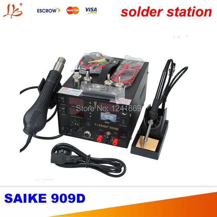 Saike 909D Soldering solder Station Welding machine 3 in 1 Soldering iron+Hot Air Gun+Power Supply quick 203h unleaded soldering station welding machine