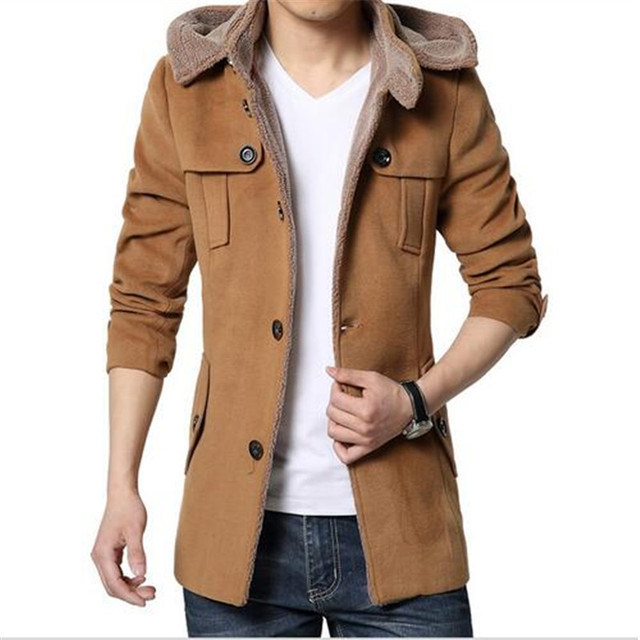 2016 new high quality autumn and winter coat male Korean business casual men's woolen jacket Slim  long sections coat tide youth