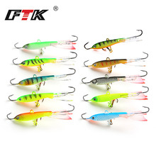 FTK Ice Fishing Hook Lure Winter 15g 80mm 1pcs Treble Hook Sharp Hook Lifelike 3D Eyes Unique Underwater Swimming Action